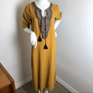 Mustard Yellow Embroidered Maxi Dress